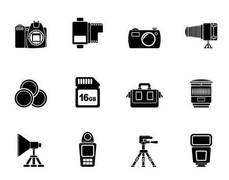 percolator: Silhouette Photography equipment and tools icons - vector icon set