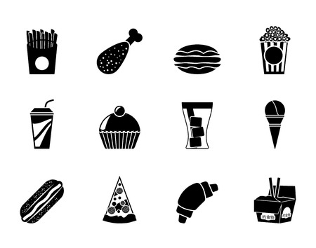 Silhouette fast food and drink icons - vector icon set Vector