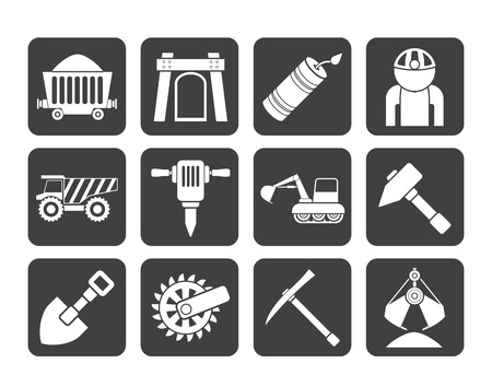 mine site: Silhouette Mining and quarrying industry objects and icons - vector icon set Illustration