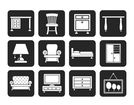 bedroom furniture: Silhouette Home Equipment and Furniture icons - vector icon set