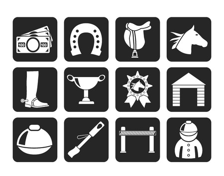 Silhouette Horse Racing and gambling Icons - vector icon set
