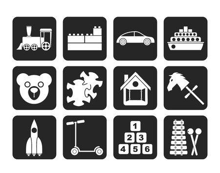 passanger: Silhouette Different Kinds of Toys Icons - Vector Icon Set
