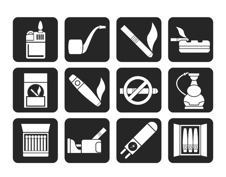 cigarette pack: Silhouette Smoking and cigarette icons - vector icon set