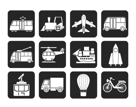 Silhouette Travel and transportation icons - vector icon set Illustration