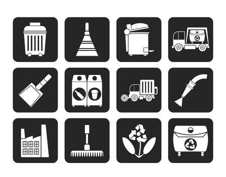 dustpan: Silhouette Cleaning Industry and environment Icons - vector icon set