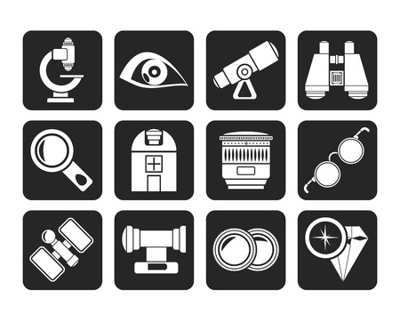 optic: Silhouette Optic and lens equipment icons - vector icon set