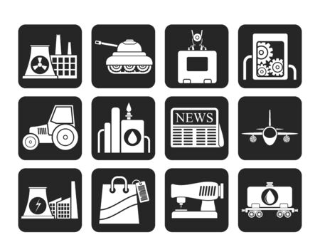agrimotor: Silhouette Business and industry icons - vector icon set