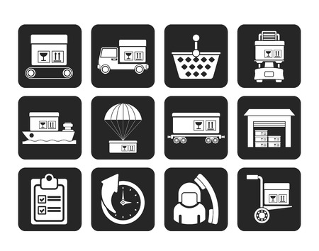 Silhouette Logistic, cargo and shipping icons - vector icon set Vector