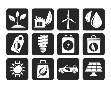 sub menu: Silhouette Green and Environment Icons - vector icon set