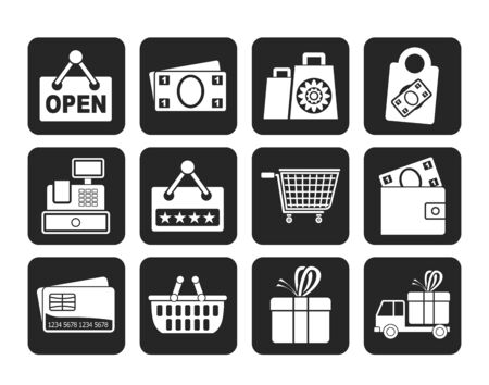 Silhouette shopping and retail icons - vector icon set Vector