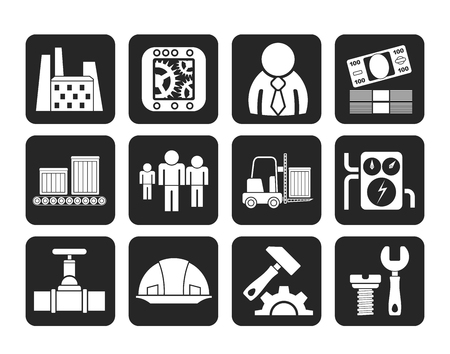 factory workers: Silhouette Business, factory and mill icons - vector icon set