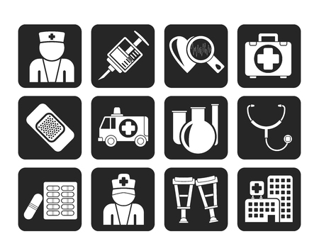 pharmacy pills: Silhouette Medicine and healthcare icons - vector icon set