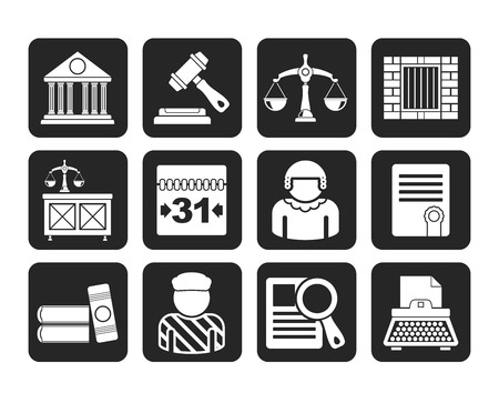 judicial system: Silhouette Justice and Judicial System icons - vector icon set