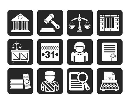 judicial system: Silueta Justicia y del Sistema Judicial iconos - vector icono conjunto