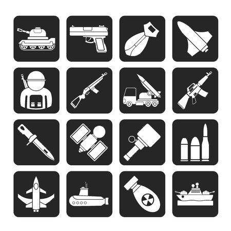 anti aircraft missiles: Silhouette Army, weapon and arms Icons