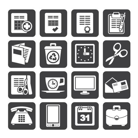 Silhouette Business and office tools icons - vector icon set Vector