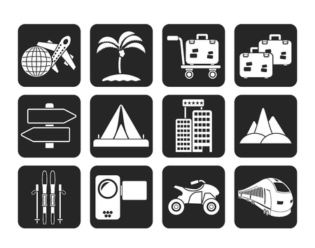 passanger: Silhouette Holiday travel and transportation icons  Illustration