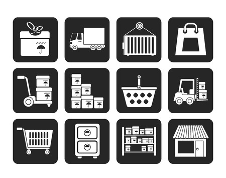 Silhouette Storage, transportation, cargo and shipping icons  Vector