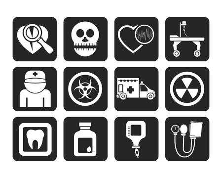 spital ger�te: Silhouette Medizin und Krankenhausausr�stungsikonen