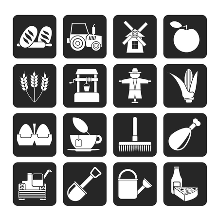 agrimotor: Silhouette Agriculture and farming icons