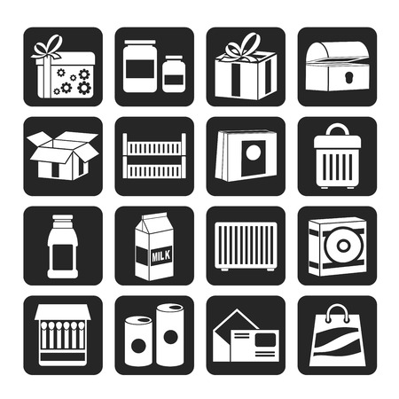 crates: Silhouette different kind of package icons