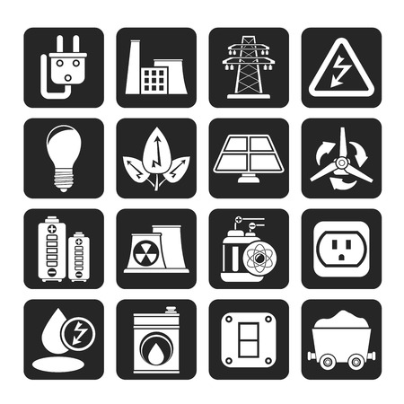 Silhouette power, energy and electricity icons Vector