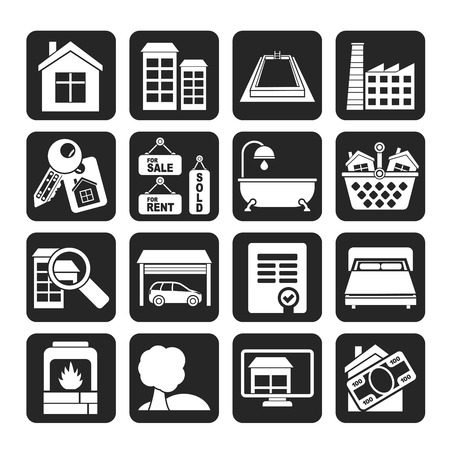 homes for sale: Silhouette Real Estate objects and Icons  Illustration