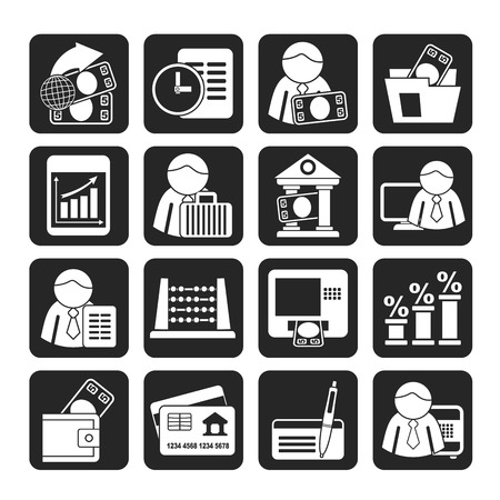 treasurer: Silhouette Bank and Finance Icons  Illustration