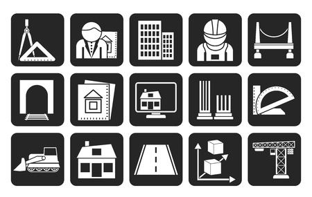 Silhouette architecture and construction icons  Vector