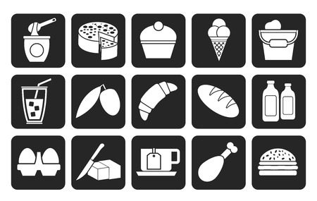 products food: Silhouette Dairy Products - Food and Drink icons - vector icon set Illustration
