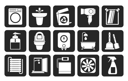 Silhouette Bathroom and toilet objects and icons - vector icon set Vector