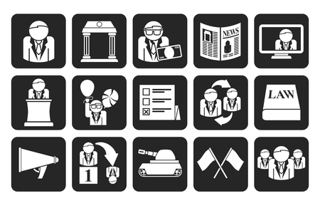 political party: Silhouette Politics, election and political party icons - vector icon set Illustration