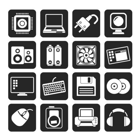 Silhouette Computer Items and Accessories icons - vector icon set Vector