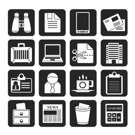 news icon: Silhouette Business and office elements icons - vector icon set