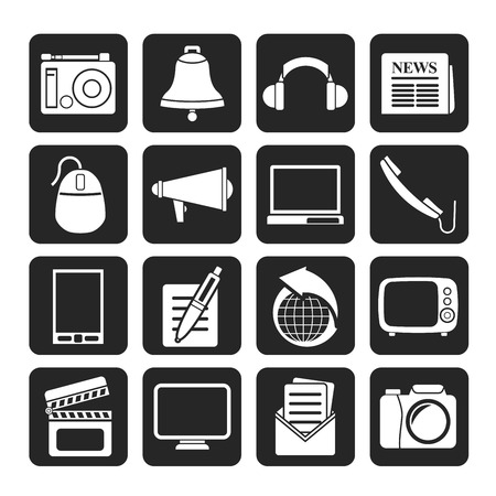 Silhouette Communication and media icons - vector icon set Vector