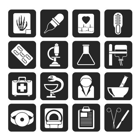 ear nose throat: Silhouette Healthcare and Medicine icons - vector icon set