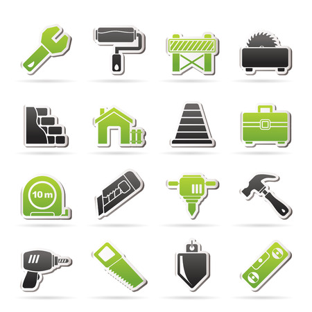 traffic barricade: Building and construction icons - vector icon set