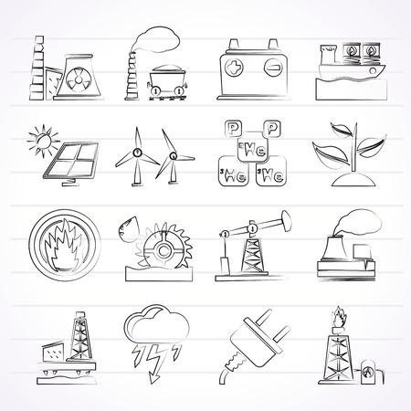 thermal power plant: Electricidad y fuente de energ�a iconos Vectores