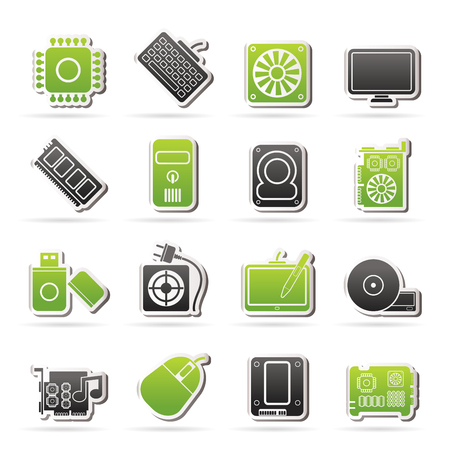 dvd room: Computer part icons Illustration