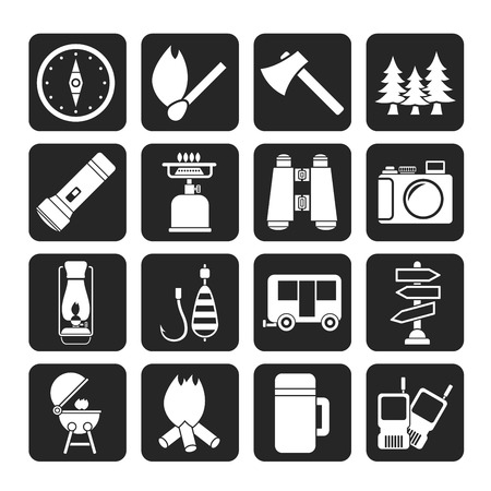 Silhouette Camping, travel and Tourism icons  Vector