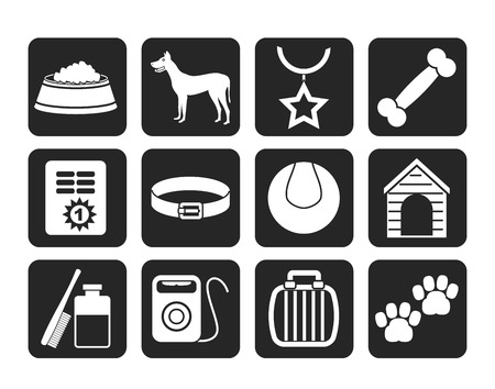 cary: Silhouette dog accessory and symbols icons  Illustration
