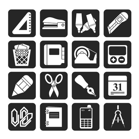 Silhouette Business and office objects icons  Vector