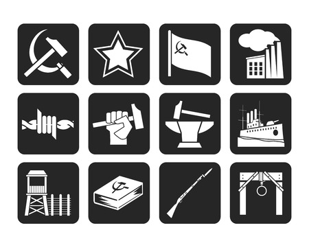 totalitarianism: Silhouette socialism and revolution icons  Illustration
