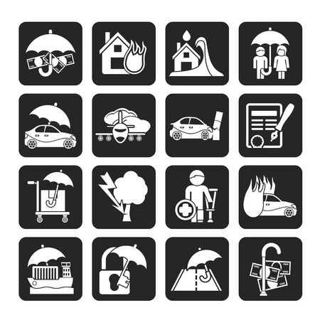 house flood: Silhouette Insurance and risk icons