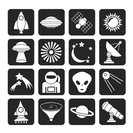 kidnapping: Silhouette astronautics, space and universe icons - icon set