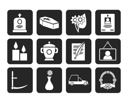 Silhouette funeral and burial icons Vector