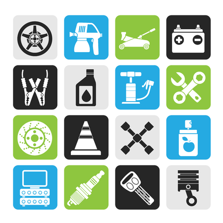 motor oil: Silhouette Transportation and car repair icons Illustration