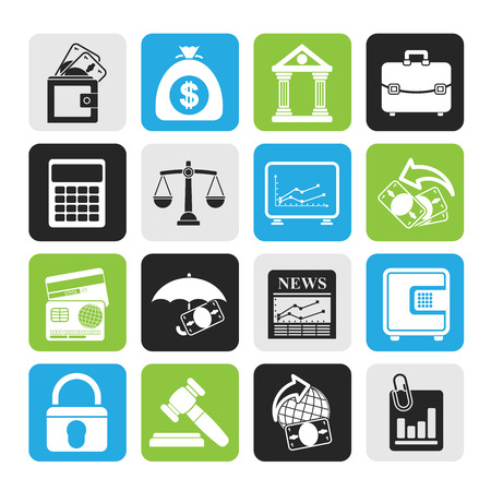 Silhouette Business, finance and bank icons Vector