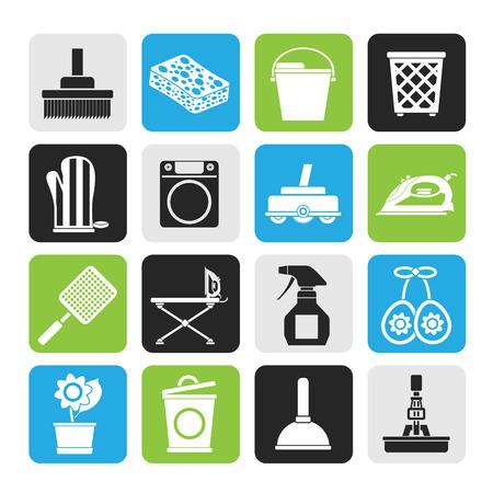 objetos de la casa: Silueta objetos para el hogar y herramientas de iconos