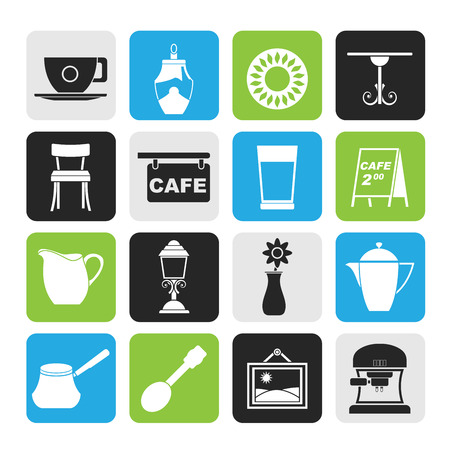 schwarz: Silhouette Cafe and coffeehouse icons
